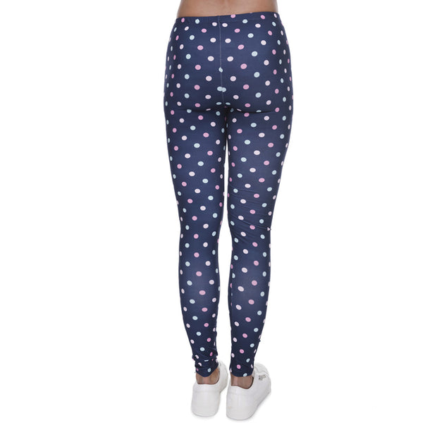 my-coconut-heart - Polka Dots On Blue Leggings