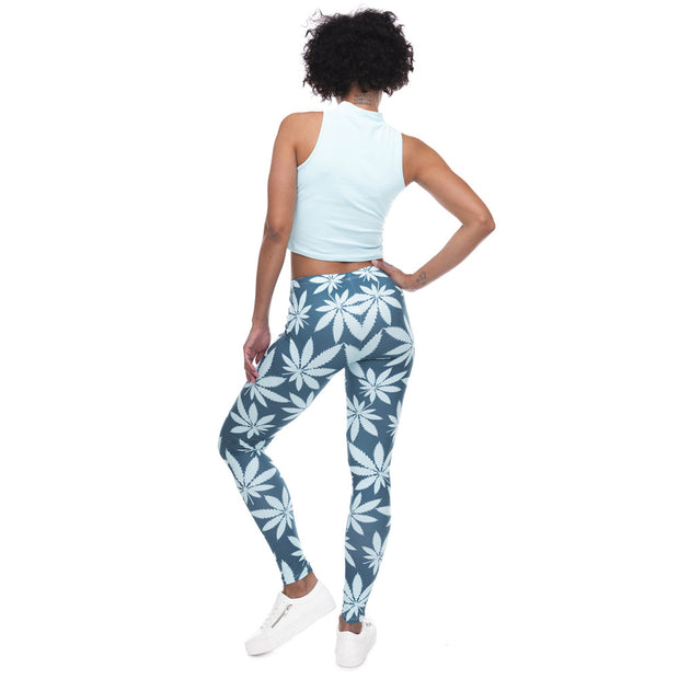 Weed Leaf Print High-Waist Leggings