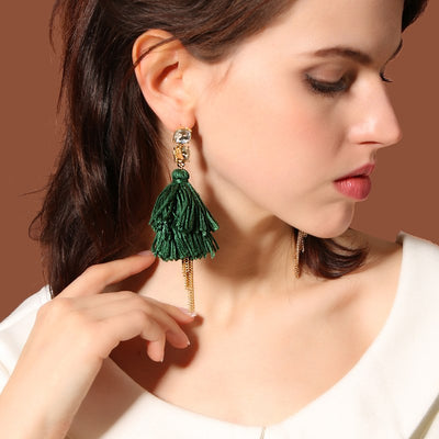 Cotton Thread Tassel Chain Earrings - My Coconut Heart
