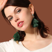 Cotton Thread Tassel Chain Earrings