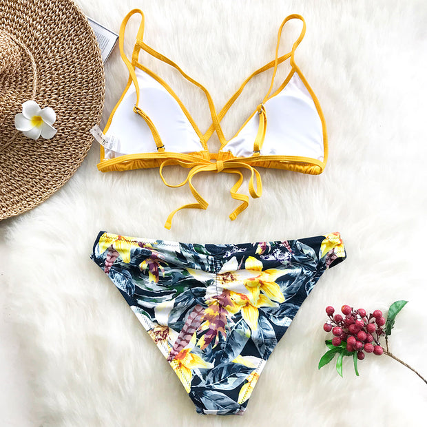 Crisscross Top And Tropical Flowers Print Bikini Set