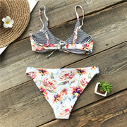 Floral/Striped Reversible Bikini Set - My Coconut Heart