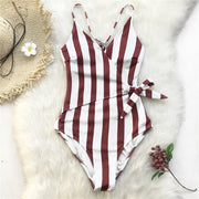 Striped V-Neck One Piece Swimsuit