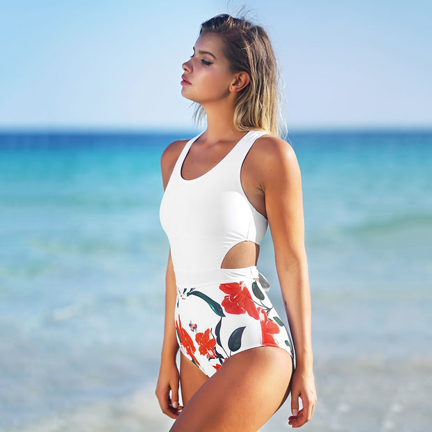 my-coconut-heart - Floral And White Cut Out One-Piece Swimsuit