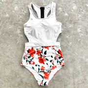 Floral And White Cut Out One-Piece Swimsuit
