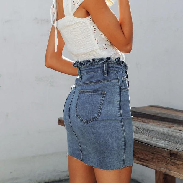 Ruffle Mid Waist Mini Skirt