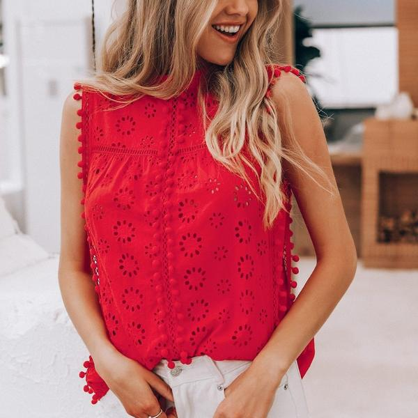 my-coconut-heart - Cotton Embroidery Pom Pom Top