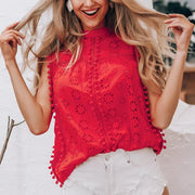 Cotton Embroidery Pom Pom Top - My Coconut Heart