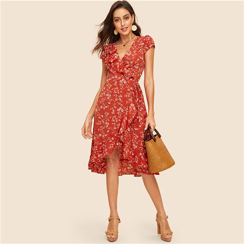 Ruffle Trim Wrap Dress