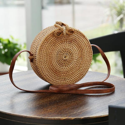 my-coconut-heart - Boho Round Straw Shoulder Crossbody Bag
