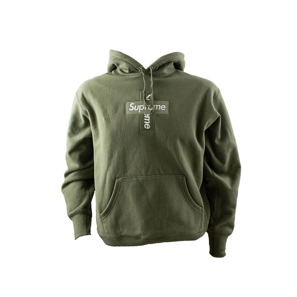 Cross Box Logo Hoodie Olive Small