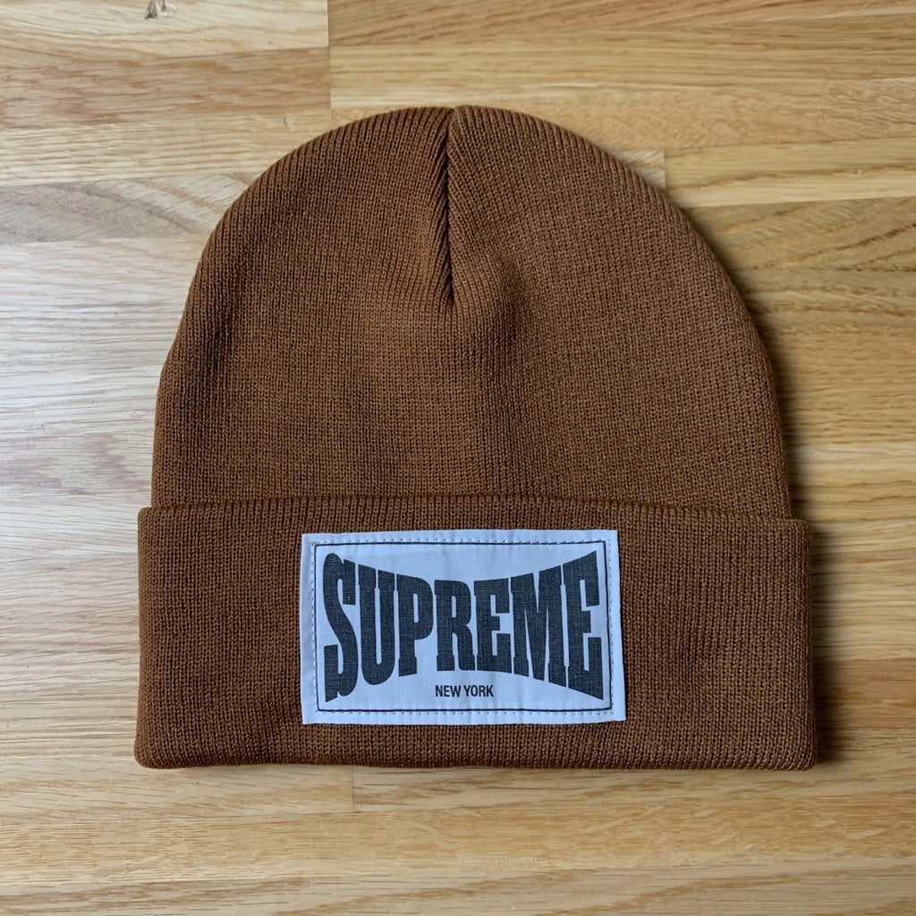 Woven Label Beanie Rust