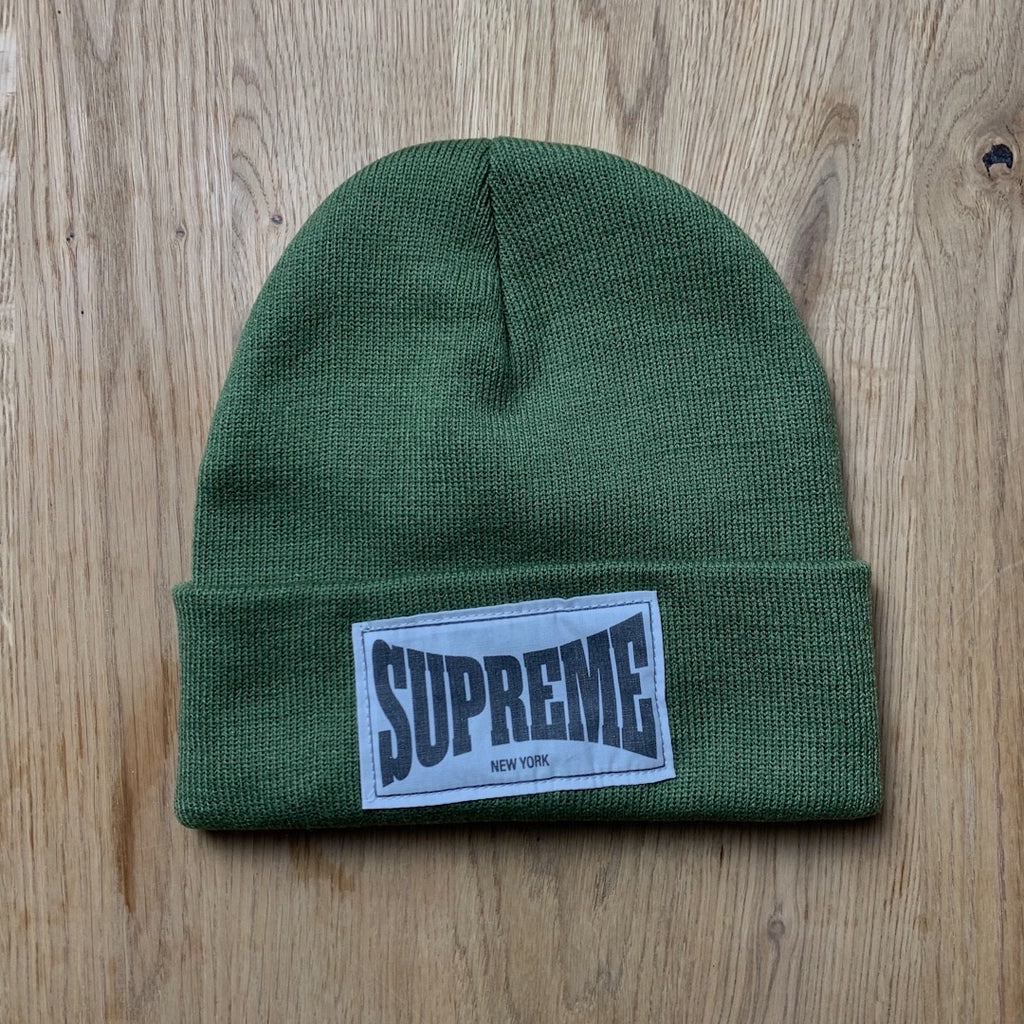 Woven Label Beanie Olive