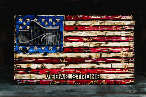 """Vegas Strong"" Hand Made Wooden American Flag"