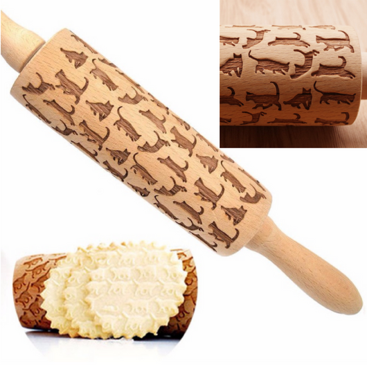 Cat Pattern Embossing Rolling Pin