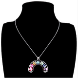 Newest Silver Rainbow Bead Cage Locket Necklace