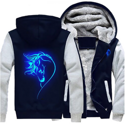 2017 Horse Glowing Hoodie Zipper Jacket