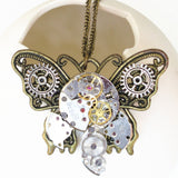 2017 Steampunk Butterfly Wing Watch Pendant Necklace