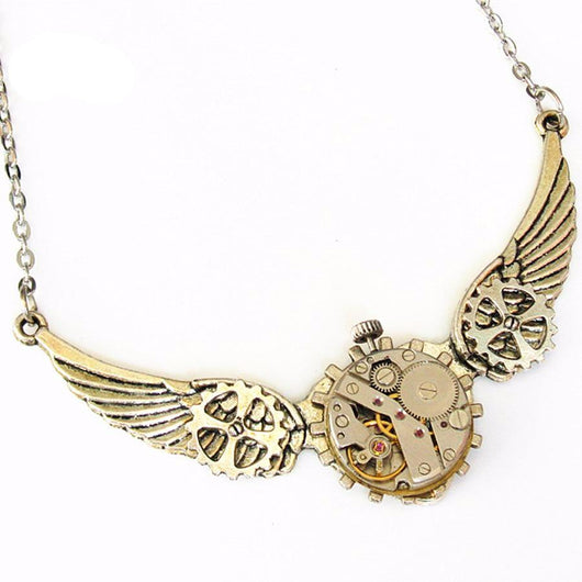 2017 Steampunk Angel Wing Watch Pendant Necklace