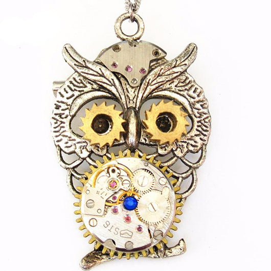 2017 Steampunk Owl Watch Necklace