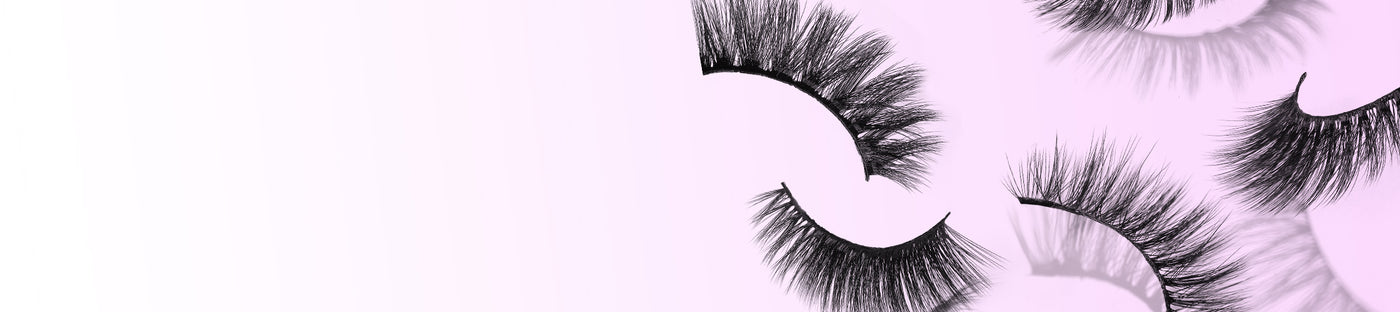 premium lashes on pink background
