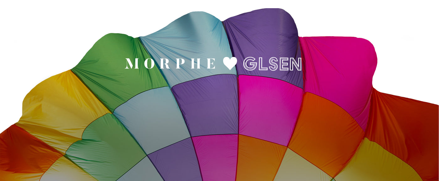 Morphe heart GLSEN on a rainbow parachute background