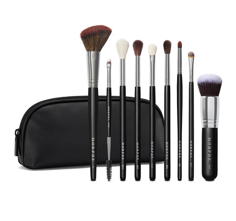 MORPHE X MANNY MUA GLAM BRUSH COLLECTION 9-PIECE FACE & EYE BRUSHES + BAG