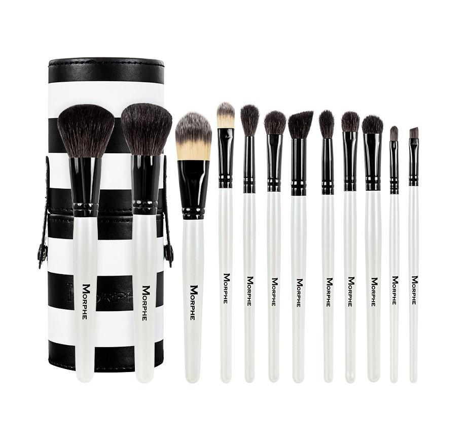 Black and white 12 piece travel set