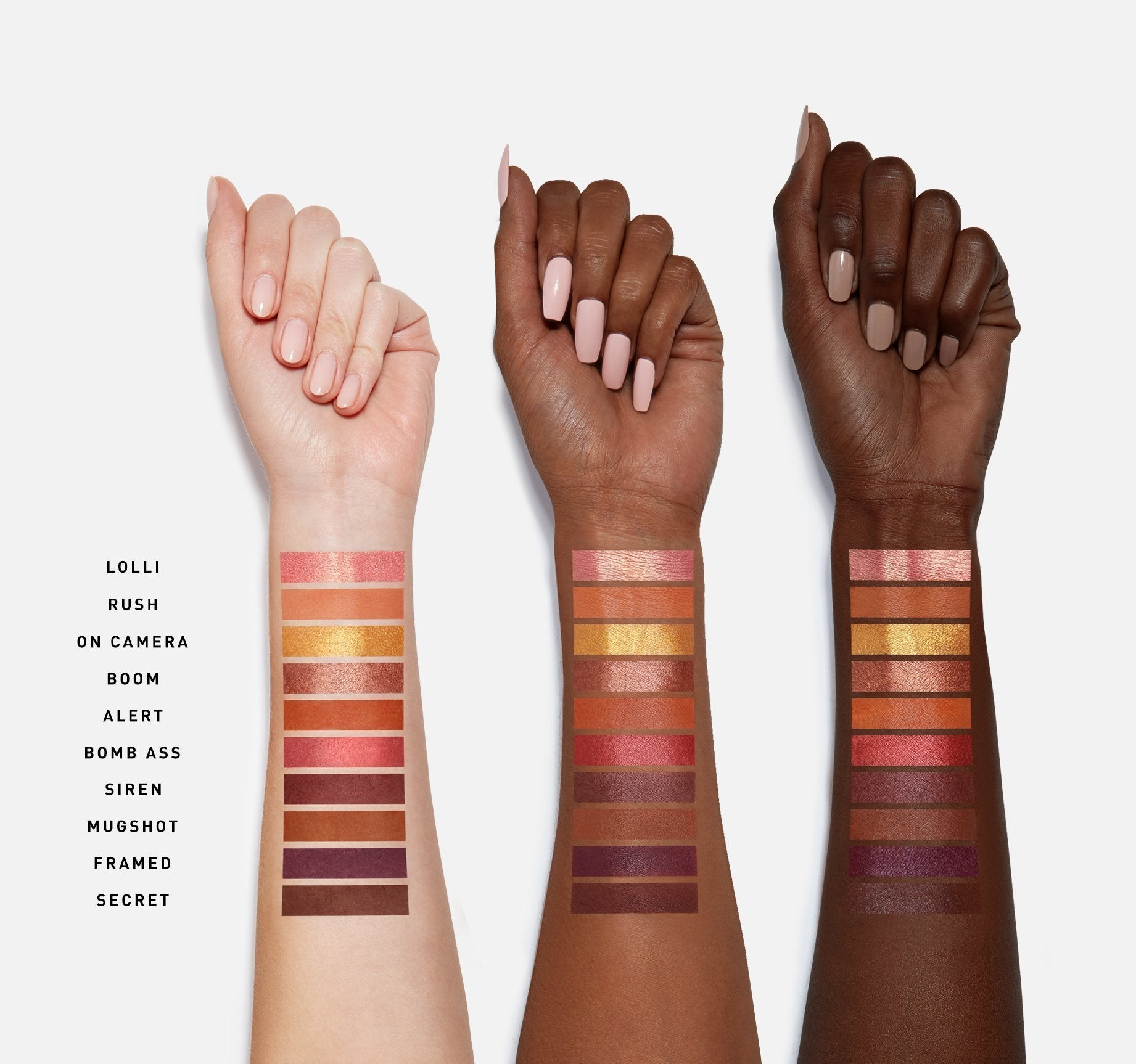 RING THE ALARM EYESHADOW PALETTE ARM SWATCHES, view larger image