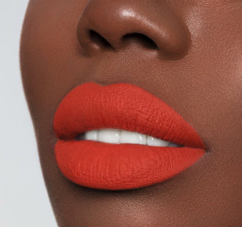 MEGA MATTE LIPSTICK – TEASE ON DEEP COMPLEXION MODEL