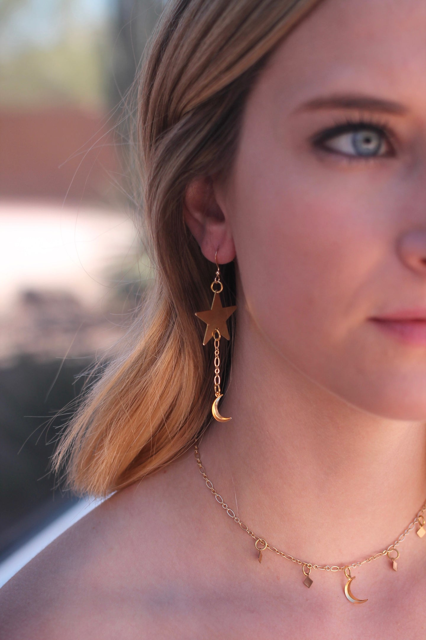 Starry Moon Drop Earrings