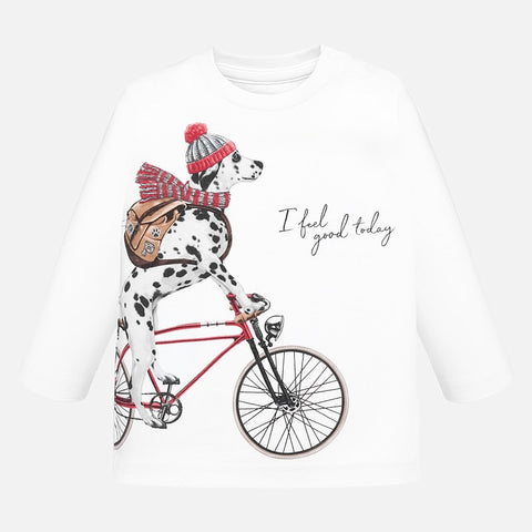 Long sleeve t-shirt patterned with dalmatian dog