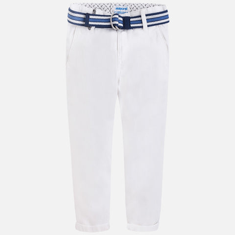 Cotton pique chino trousers with belt