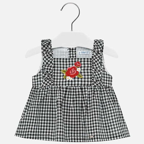 Patterned strappy blouse for baby girl