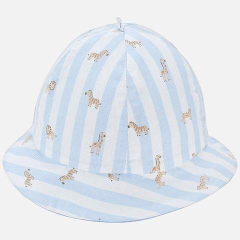 Reversible striped hat for newborn boy