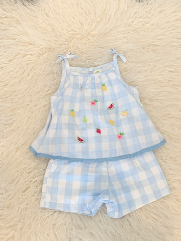 Fun romper with embroidered fruits