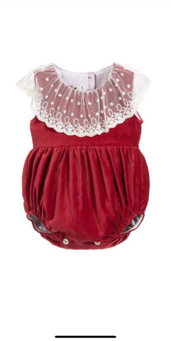 Baby girl red shortie with lace collar