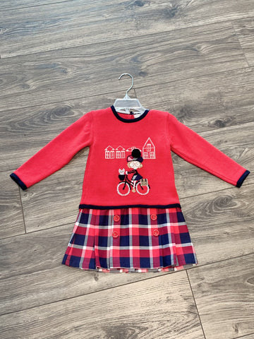 knit long sleeve dress with bicycle pattern and plaid skirt