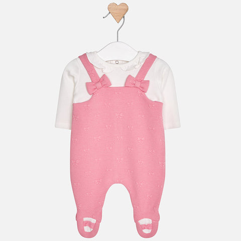 Padded dungaree onesie for baby girl with two bows