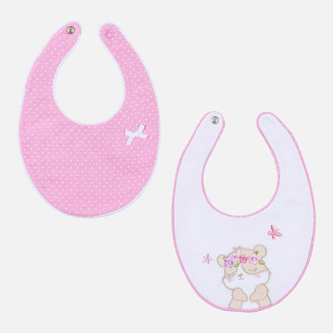 Set of embroidered bibs for baby girl