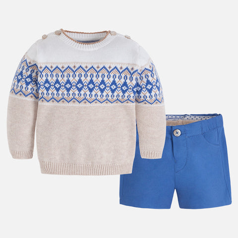 Twill Short, Sweater And Tights