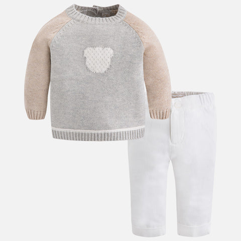 Baby boy set of Bear sweater and long pants