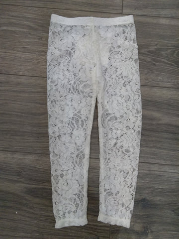 Girl Ivory Lace Leggings