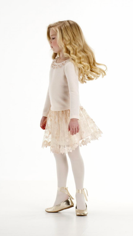 Champagne Sweater And Lace Skirt