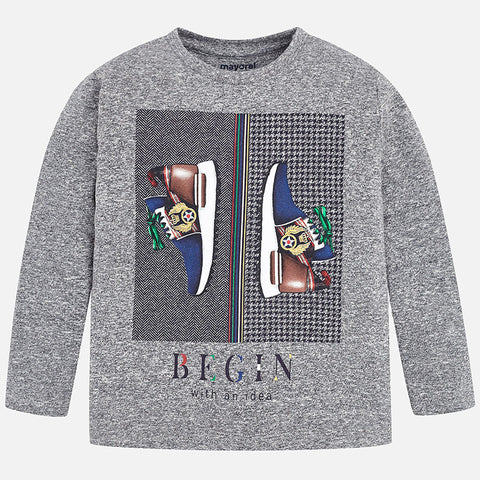 Long sleeve trainers shoes print t-shirt for boy