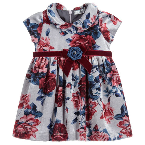 Girls Velour Floral Dress