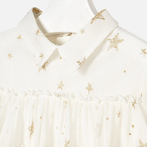 Star print chiffon blouse for girl
