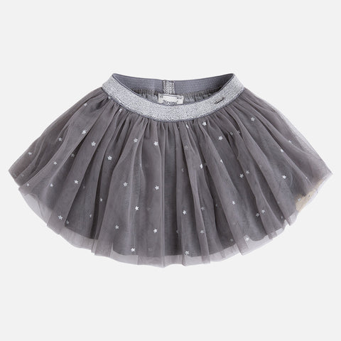 Tulle Skirt with Stars in Steel