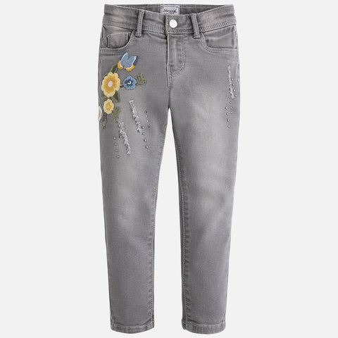 gray jean With Flowers