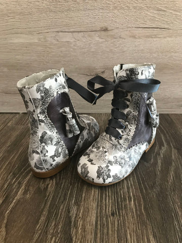 Gux's Leather Boots  with Flower Print